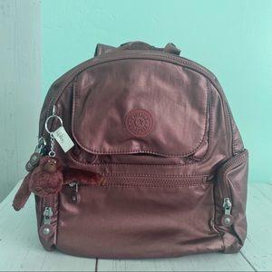 Kipling Dark Maroon Metallic Small Backpack